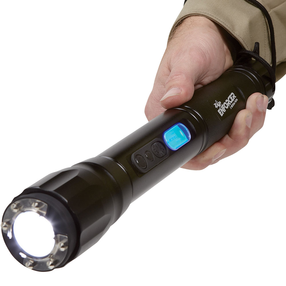 New Zap Enforcer Stun Gun Rechargeable Tactical Flashlight